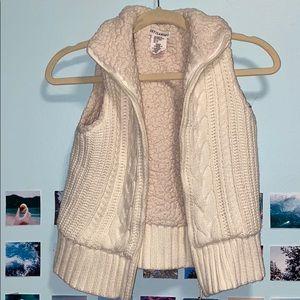 White Vintage Knitted Sherpa Vest